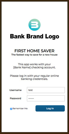 First Home Saver App Screenshot - Log in scree