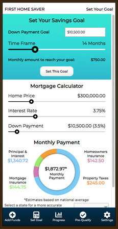 First Home Saver App Screenshot - Savings goal screen