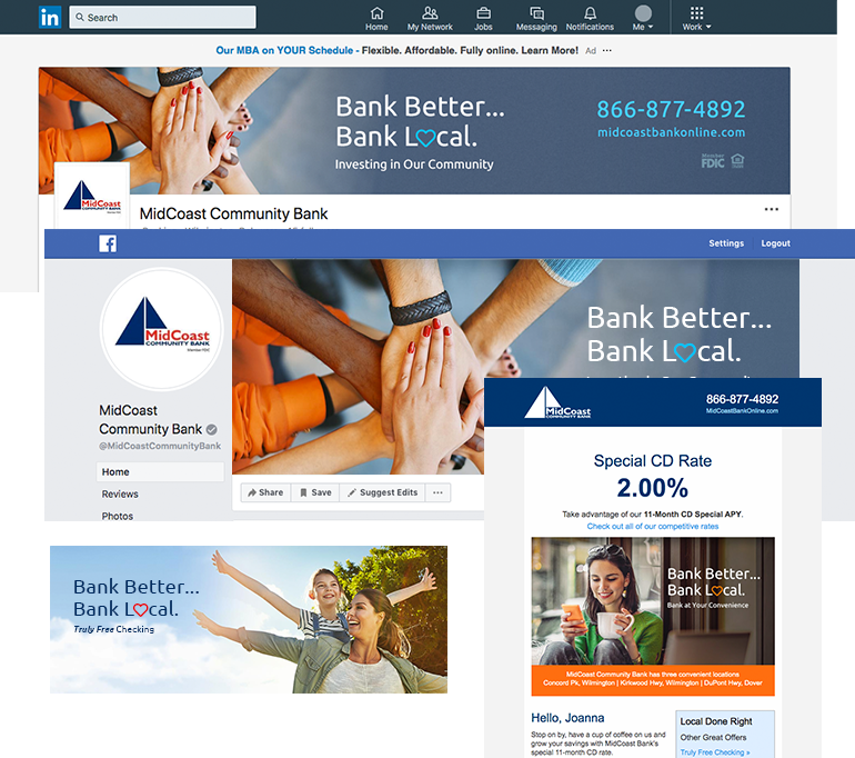 MidCoast Community Bank branding examples