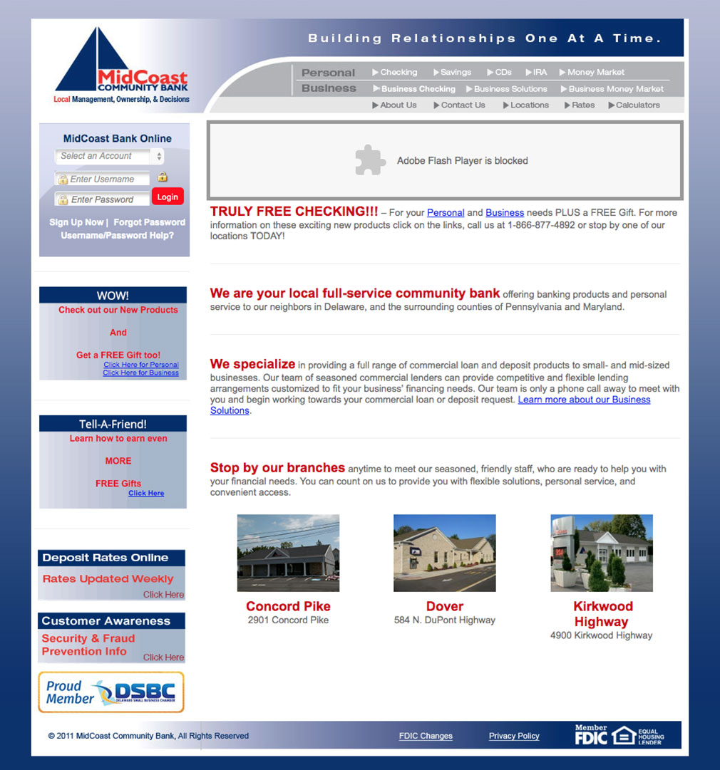OLD MidCoast Bank Website